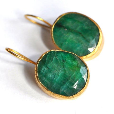 Emerald Gold Plated Earrings