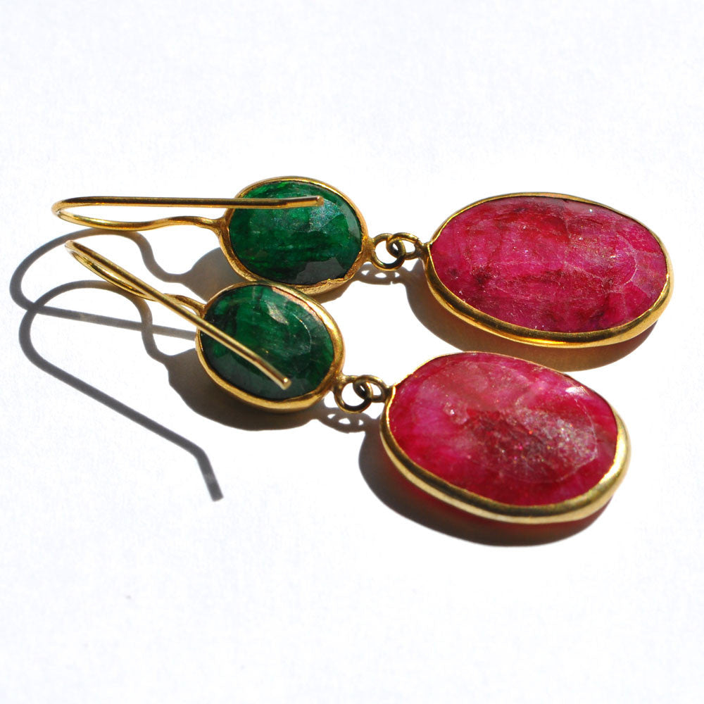 Emerald & Ruby Gold Plated Earrings