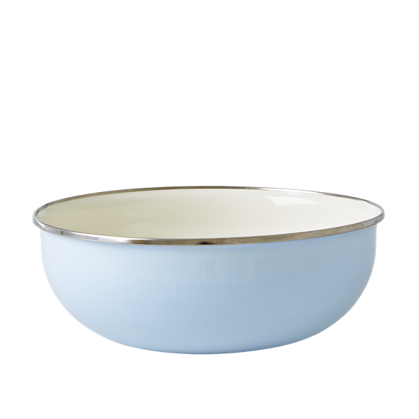 Soft Blue and Cream Enamel Bowl with Flower Print