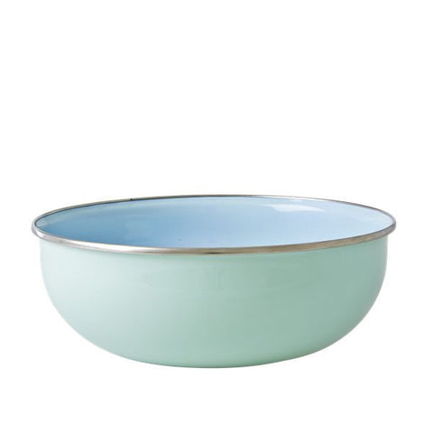 Soft Blue and Pastel Green Enamel Bowl with Flower Print