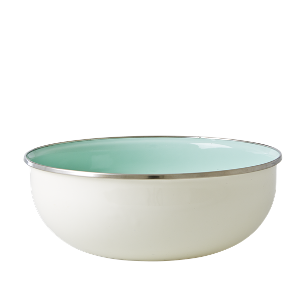 Pastel Green and Cream Enamel Bowl with Flower Print