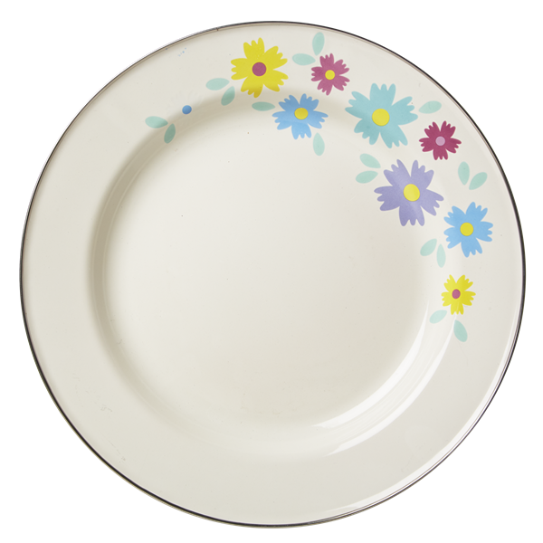 Cream Enamel Dinner Plate with Flower Print