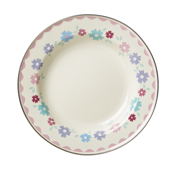 Cream Enamel Lunch Plate with Flower Print