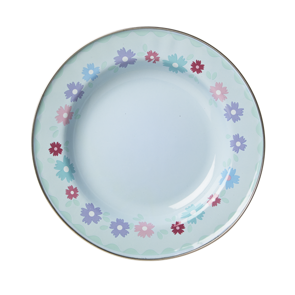 Soft Blue Enamel Lunch Plate with Flower Print