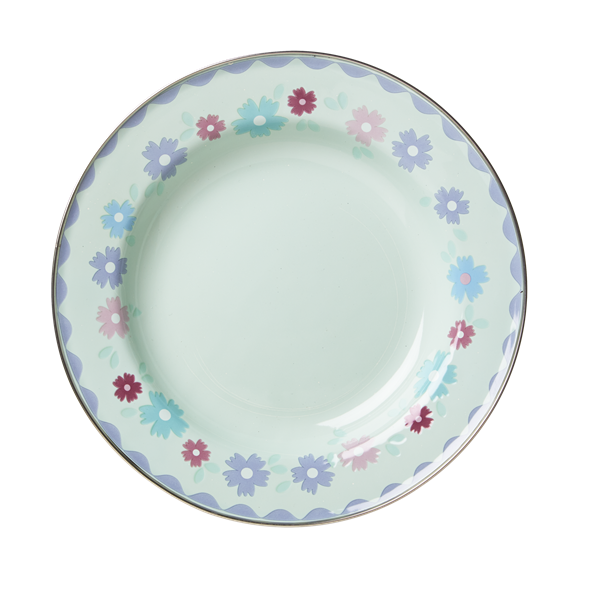 Pastel Green Enamel Lunch Plate with Flower Print