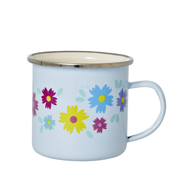 Soft Blue Enamel Mug with Flower Print