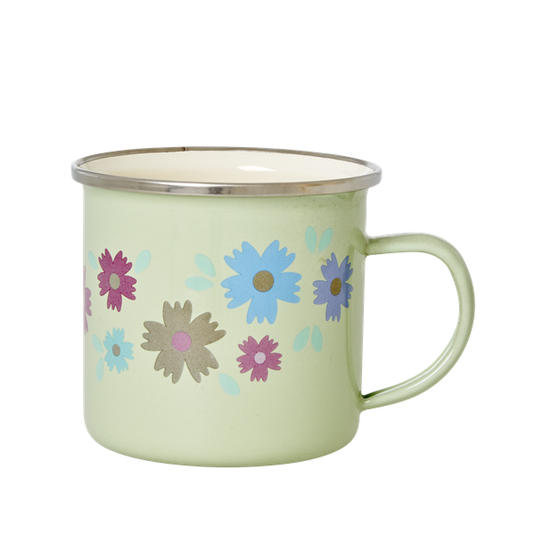 Pastel Green Enamel Mug with Flower Print