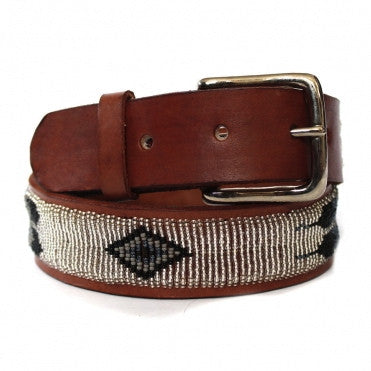 Silver Feather Beaded Belt