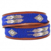 Blue Feather Beaded Leather Belt