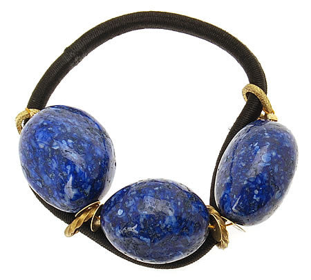 Blue Triple Stone Hair Tie