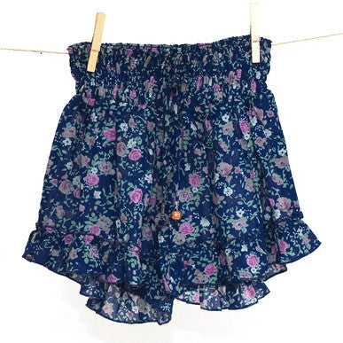Blue Posy Rose Printed Frilly Shorts
