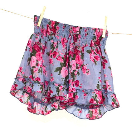 Smoky Blue Rose Printed Frilly Shorts