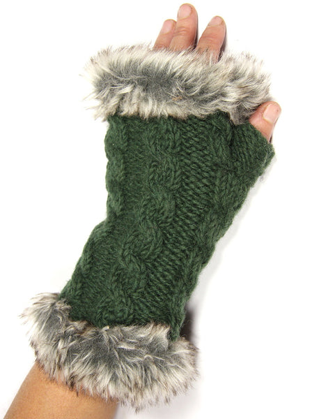 Forest Green Fur Trimmed Hand Warmers