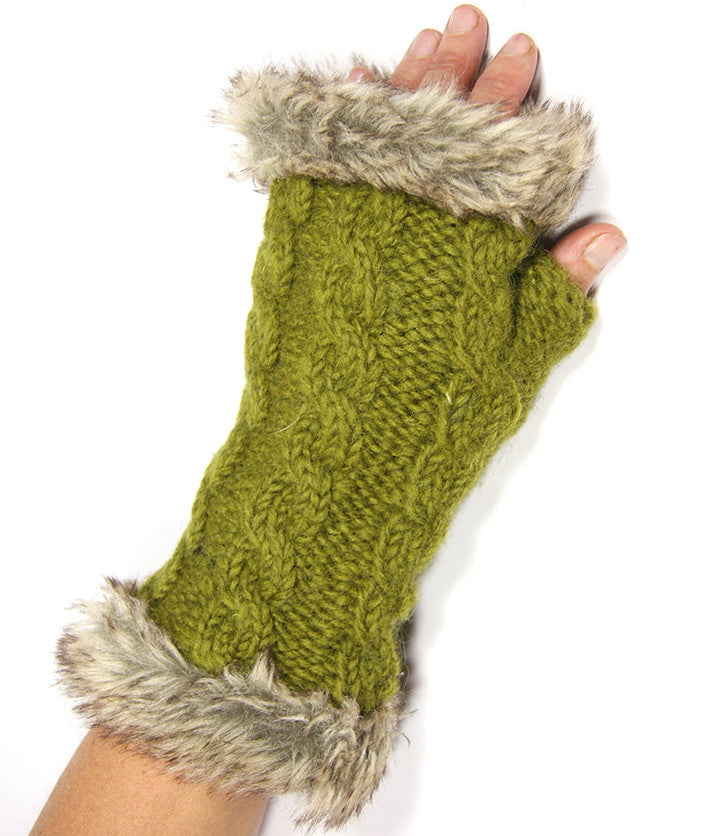 Olive Fur Trimmed Hand Warmers
