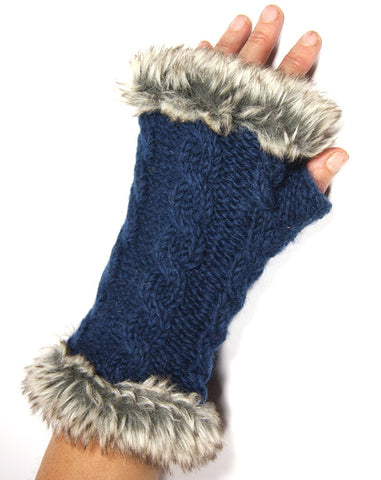 Teal Fur Trimmed Hand Warmers