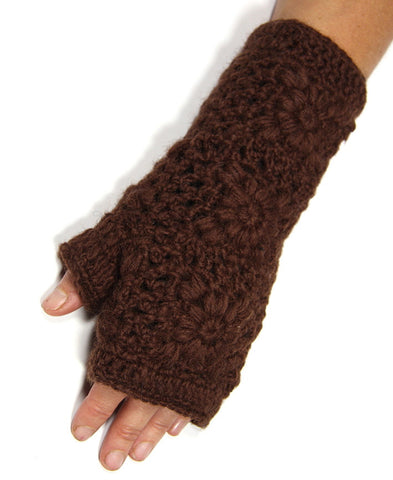 Brown Pure Wool Lacy Knit Hand Warmers