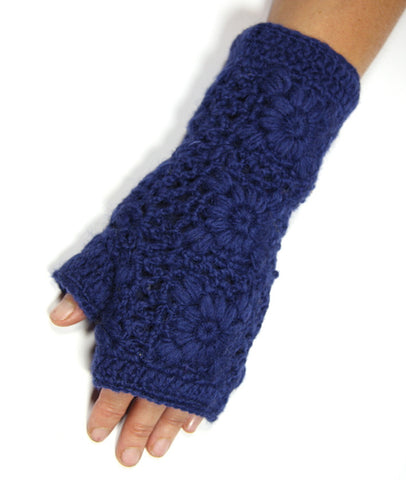 Dark Blue Pure Wool Lacy Knit Hand Warmers