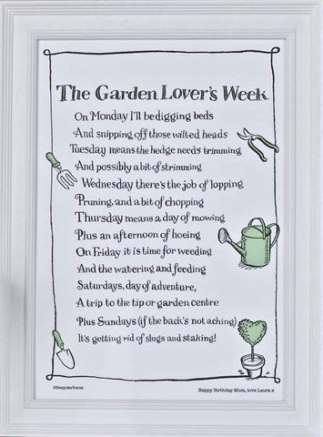 'The Garden Lover's Week' Poem Print