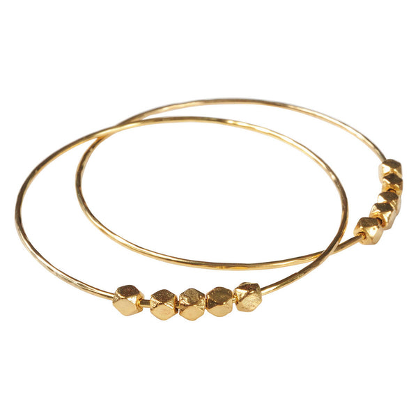 Gold Plated Bangle with Solid Berber Beads
