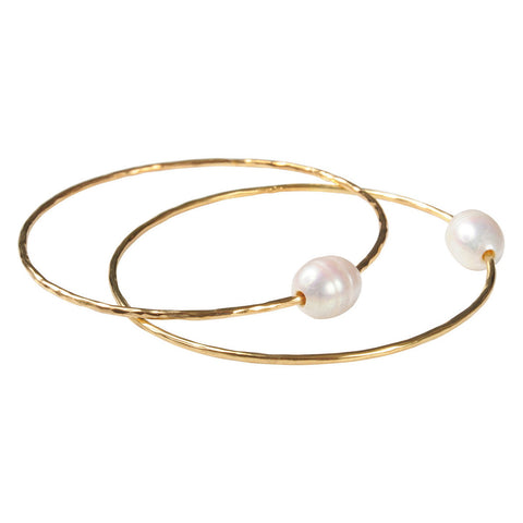 Gold Plated Freshwater Pearl Bangle