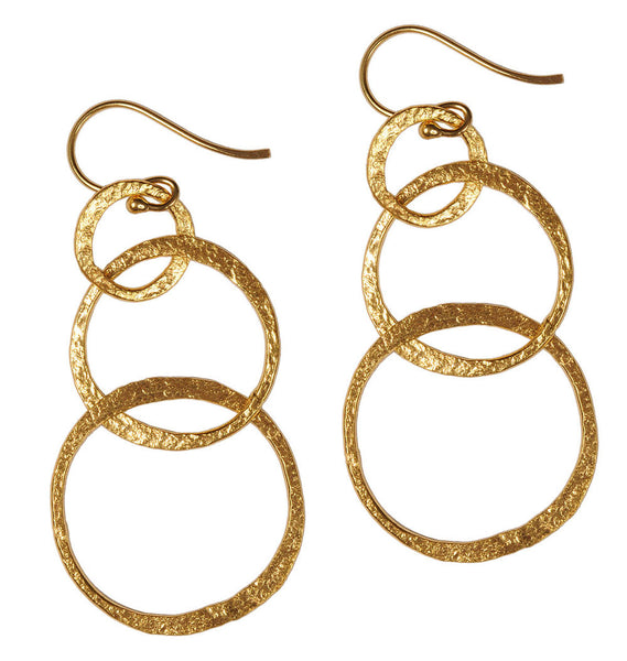 Gold or Silver Plated Triple Loop Earrings