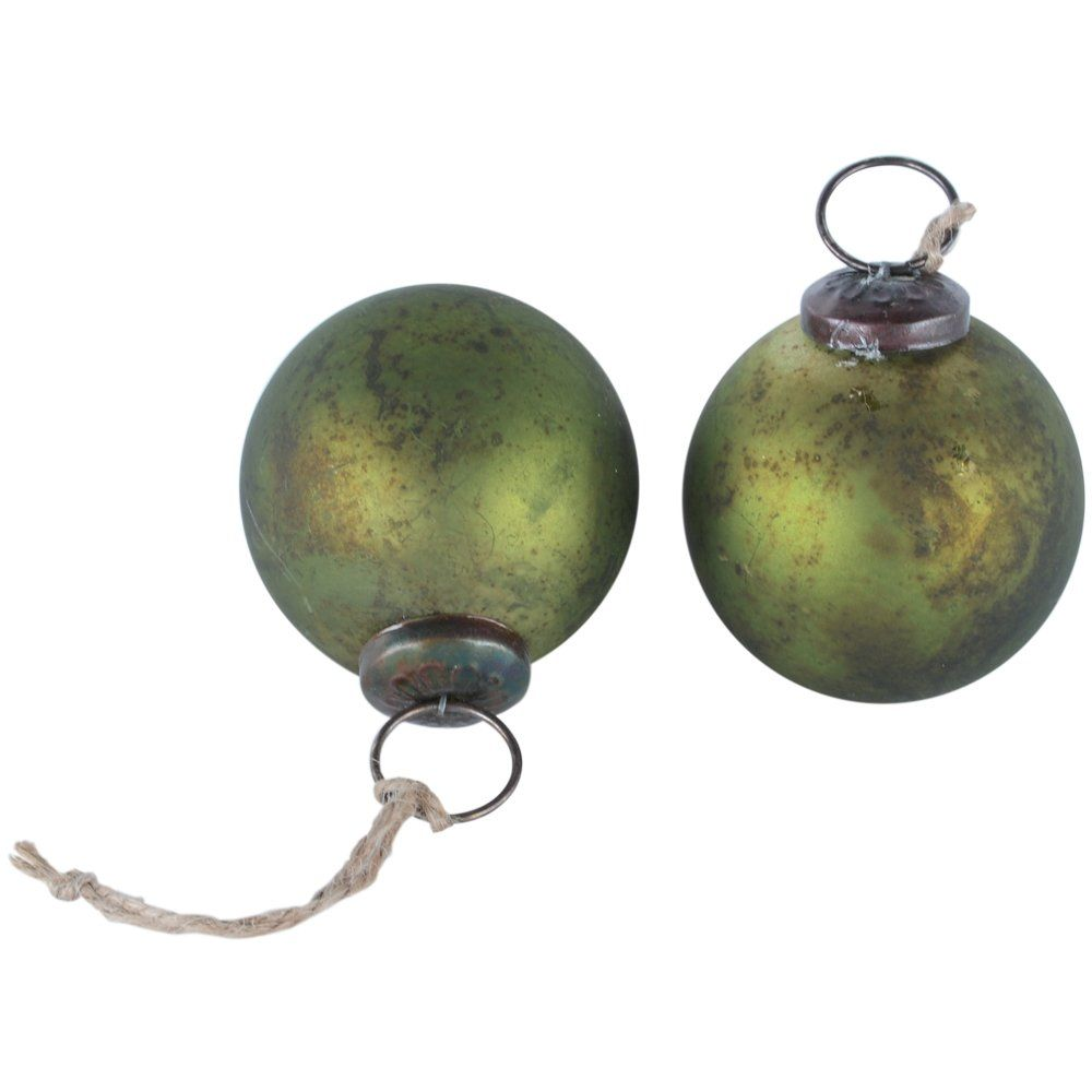 Green Matt Vintage Round Bauble