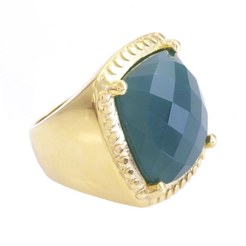 Green Chalcedony Gold Plated Ring