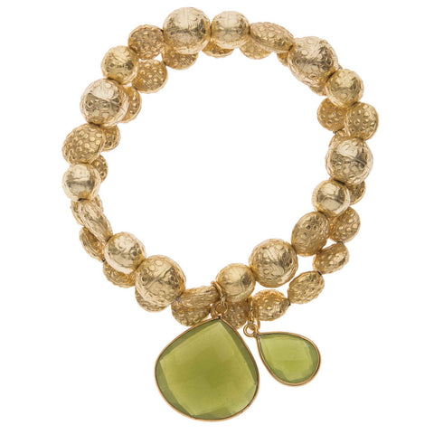 Green Vasonite Drop Stone Twin Bracelet