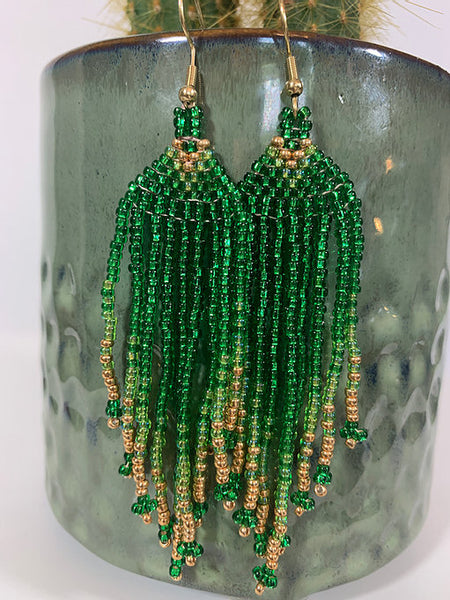 Green & Gold Beaded Earrings