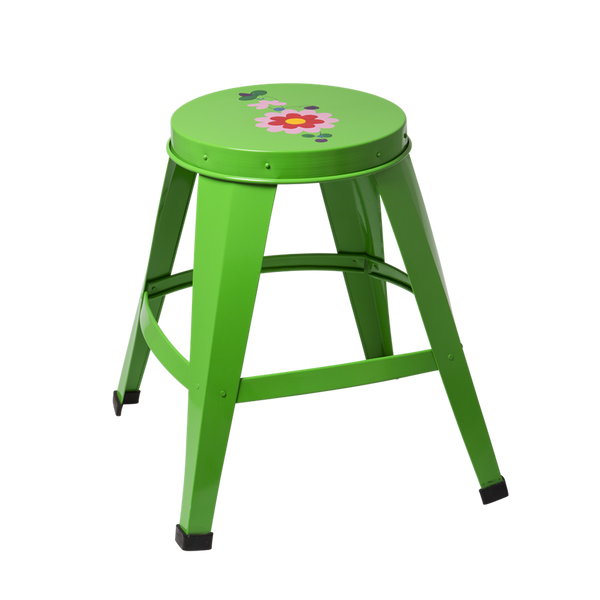 Green Metal Stool with Flower Design