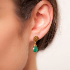 Azuni Gold Plated Green Onyx Disc Stud Earrings