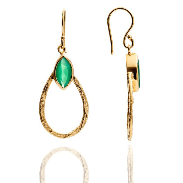 Azuni Green Onyx Teardrop Hoop Earrings