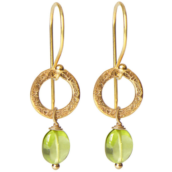 Green Peridot Drop Earrings