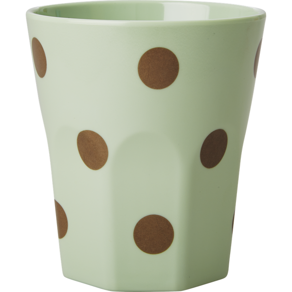 Large Pastel Green Melamine Cup with Polka Dots