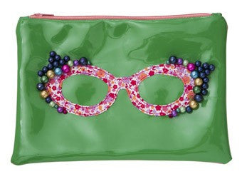 Green Cosmetic Bag with Spectacle Applique