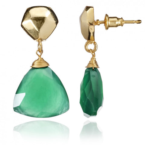 Green Onyx Triangular Drop Earrings