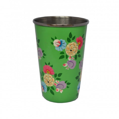 Bright Green Hand Painted Enamel Tumbler