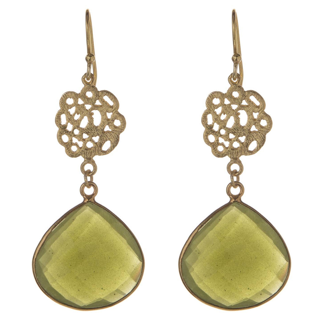 Green Vasonite Cutwork Earrings