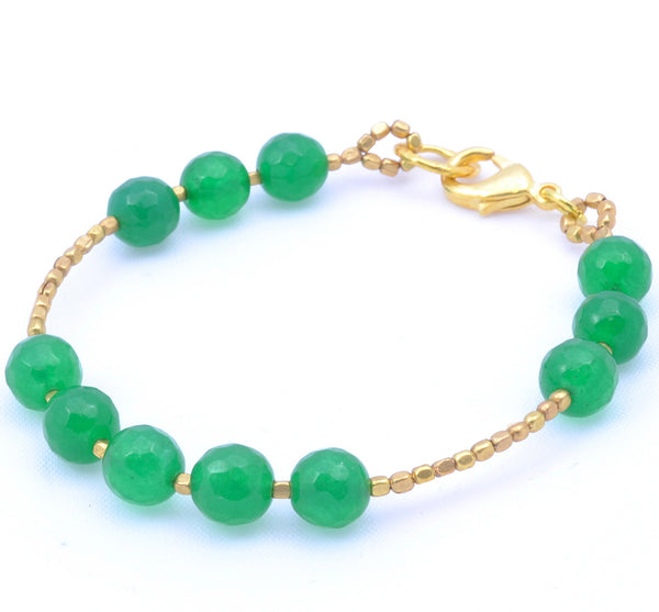Green Jade Gold Plated Bracelet
