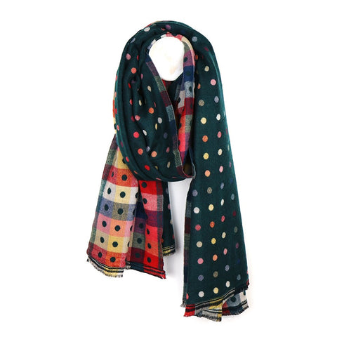 Green Reversible Multicoloured Spot & Check Scarf