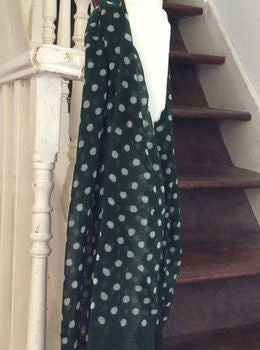 Green Wool Polka Dot Scarf