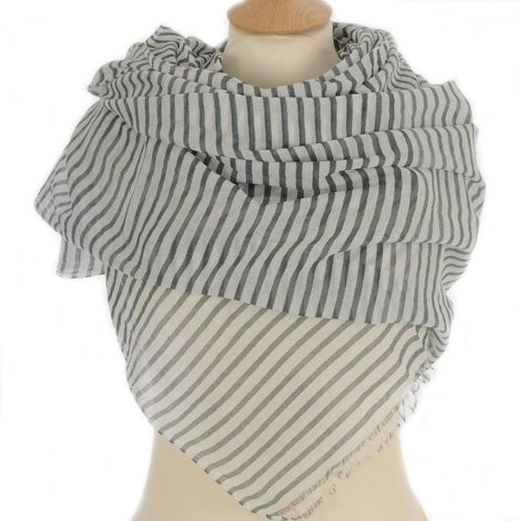 Grey Breton Striped Scarf