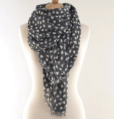 Grey Hearts Print Scarf