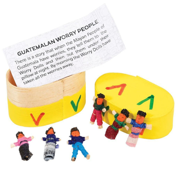 6 Guatemalan Worry Dolls in a Box