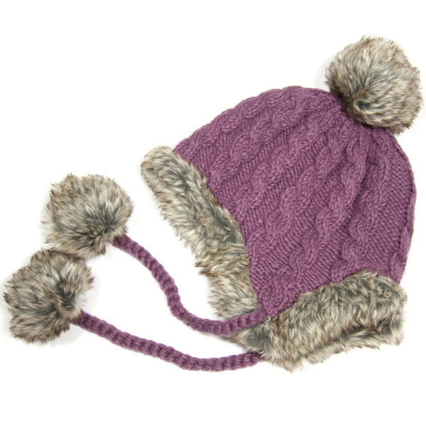 Dusky Mauve Fur Trimmed Bobble Hat