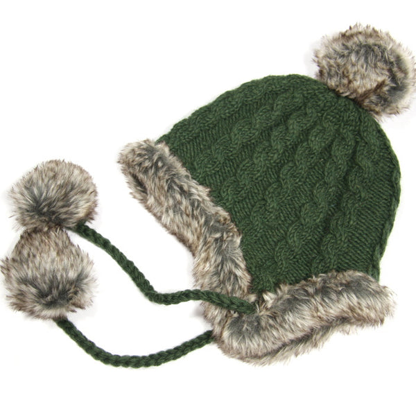 Forest Green Fur Trimmed Bobble Hat