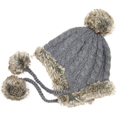 Grey Fur Trimmed Bobble Hat