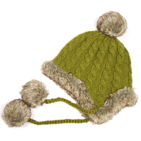 Olive Fur Trimmed Bobble Hat