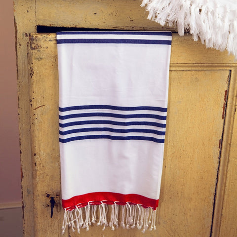 Navy/Red Marine Hammamas Cotton Towel