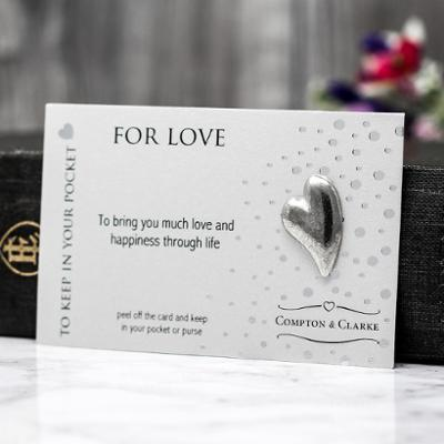 Heart For Love Carded Pewter Pocket Charm